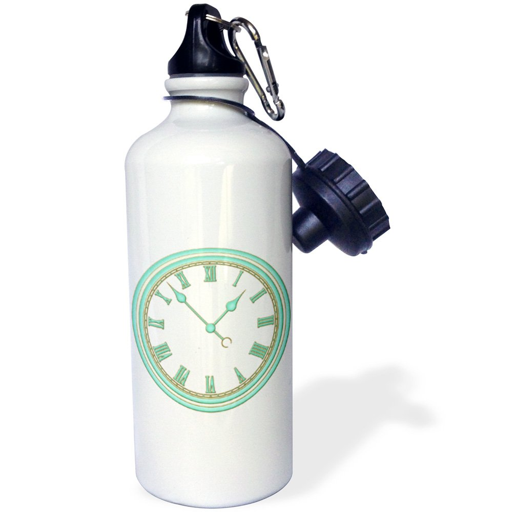 wb/_210834/_1 Multicolored 3dRose Vintage Aqua and White Clock Illustration-Sports Water Bottle 21oz