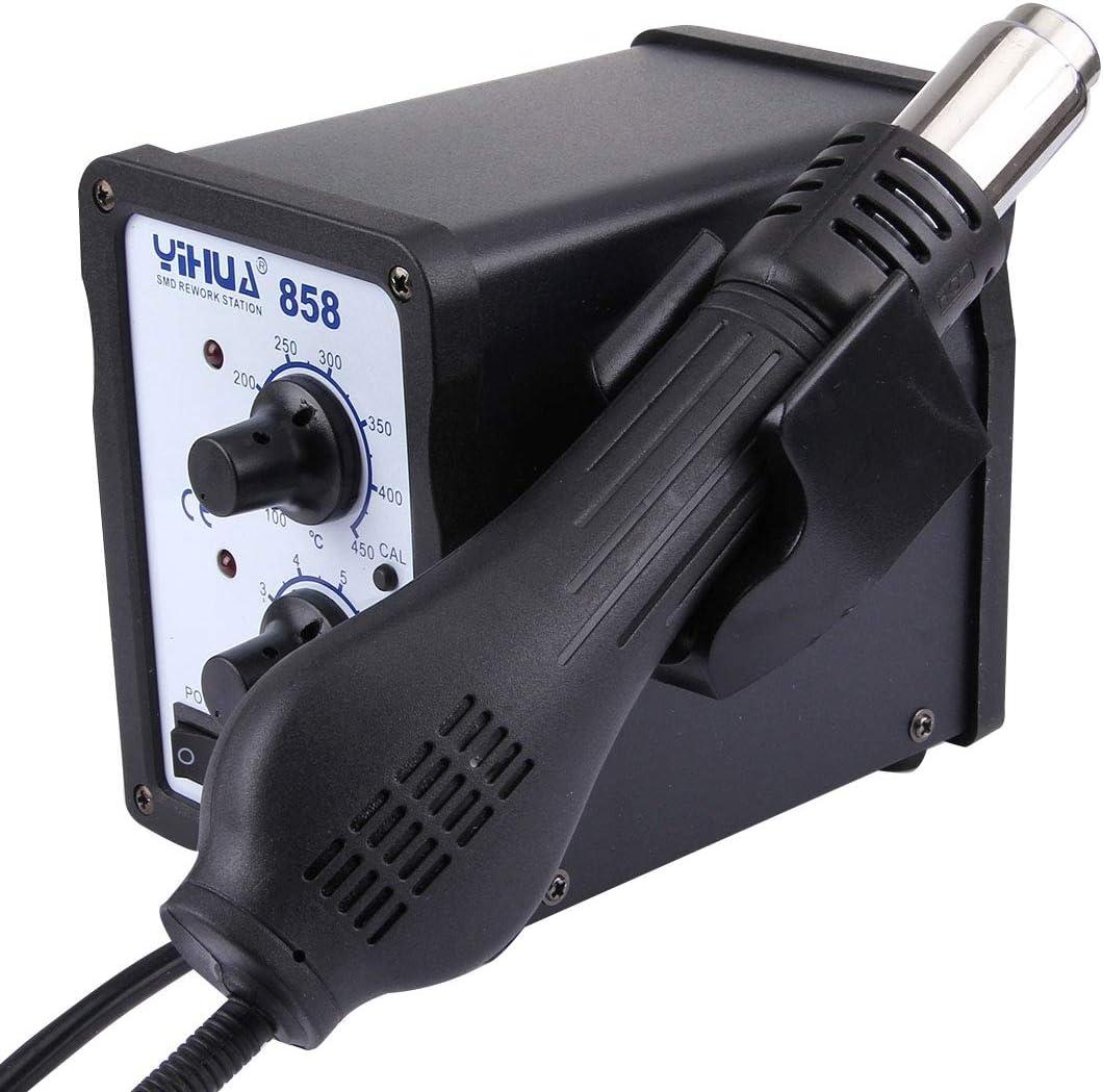 Herramienta Celsius de temperatura con función de pantalla LLD YIHUA 858 AC 220V Temperatura ajustable y flujo de aire Pistola de aire caliente pantalla LED de temperatura ajustable pistola de aire ca