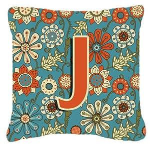 Letra J flores Retro azul tela de lona almohada decorativa–CJ2012-JPW1818
