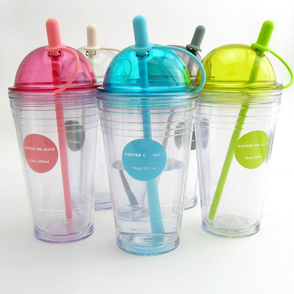Zoomy Wasserflasche mit Strohhalm, doppelschichtig, BPA-frei, Kunststoff, tragbar, 560 ml, SH18 501 600 ml