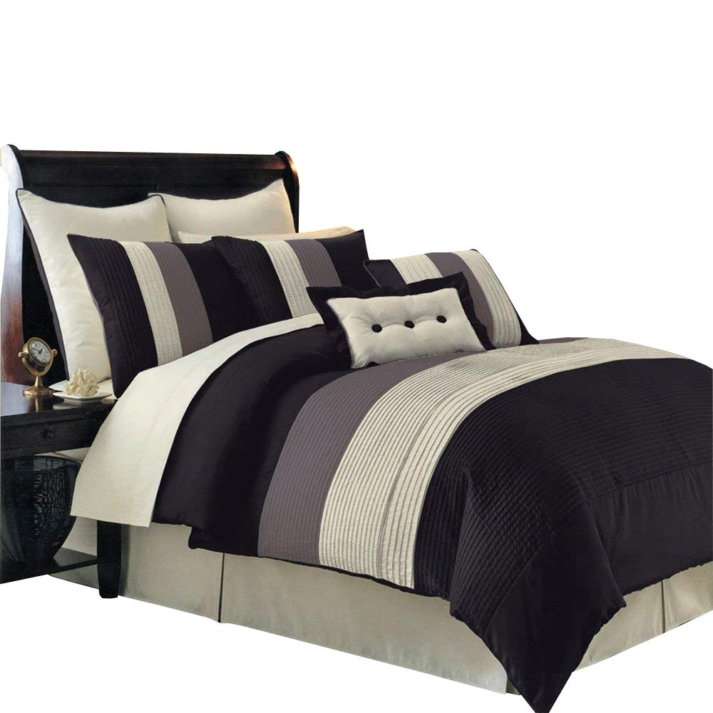 Morgan Blue , Brown, and Cream Cal-King size Luxury 8 piece comforter set includes Comforter, bed skirt, pillow shams, decorative pillows Royal Hotel Bedding