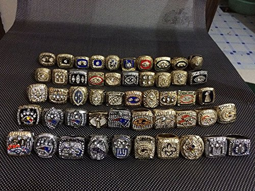 Set of 52 Replica Super Bowl Rings 1966-2017 Various Sizes Gold & Silver Color Collectible USA (Gold Stock Jewelers)