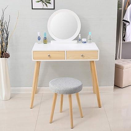 Huisen Furniture Petite Coiffeuse En Bois Miroir Avec