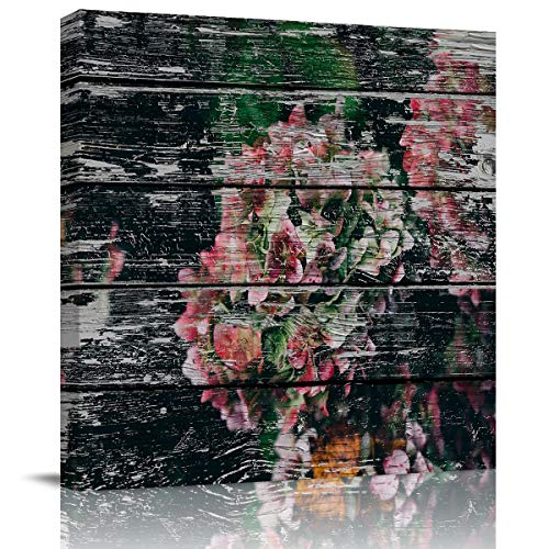 Square Canvas Wall Art Oil Painting for Bedroom Bathroom Living Room Home Decor,Wood Grain Series Flower Cluster Artworks for Hotel Office Salon,Stretched by Wooden Frame,Ready to Hang,28x28in -