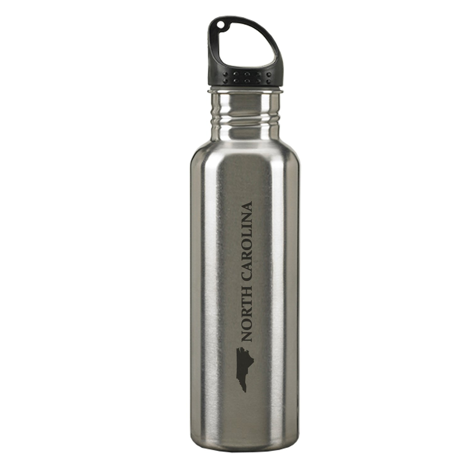North Carolina-State Outline-24-ounce Sport Water Bottle-Silver LXG Inc