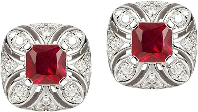 Daesar Pendientes de Mujer Plata Rojo Pendientes de Oro Blanco 18 Kilates Cuadrado con Flor Rubí Rojo 0.41ct Diamante 0.14ct