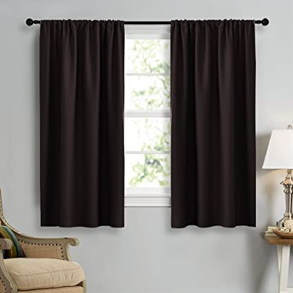 Nicetown Blackout Curtain Panels 45 Long Noise Reducing Thermal Insulated Solid Rod Pocket Window