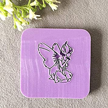 Color: 4X4cm Davitu natural handmade acrylic soap seal stamp mold chapter mini diy fairies patterns organic glass 4X4cm 0014