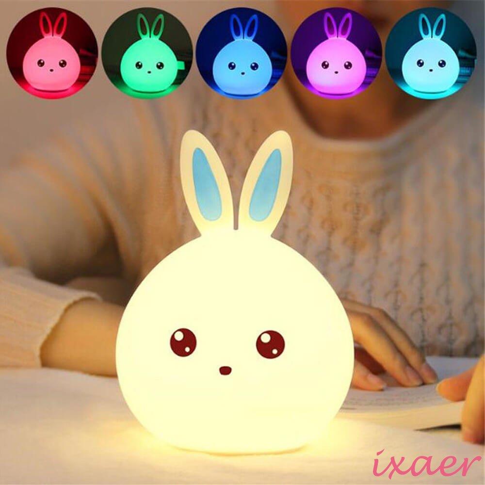 ixaer Rabbit LED Night Light Multicolor Silicone Touch Sensor For Children Bedside Lamp Control Bunny Nightlight, Creative Rabbit Pat Lamp Dream Bedroom Bedside Table Lamp. (Blue)