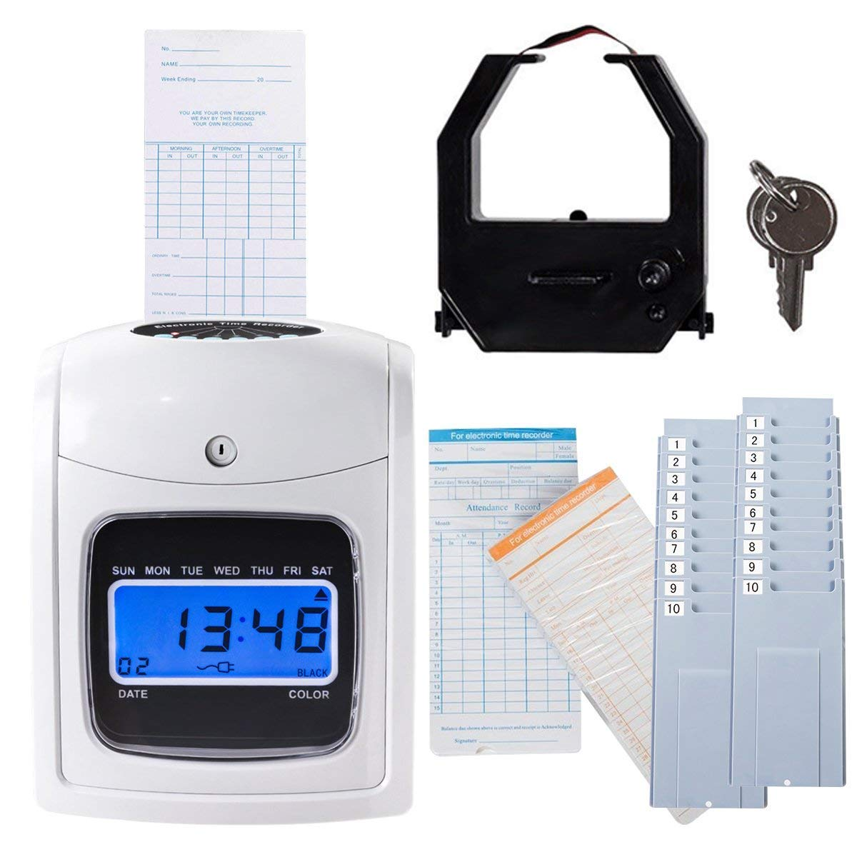 Goplus Electronic Time Clock, Employee Time Recorder with 200 Cards & 2 Time Cards Racks, Time Attendance Clock (White) by Goplus