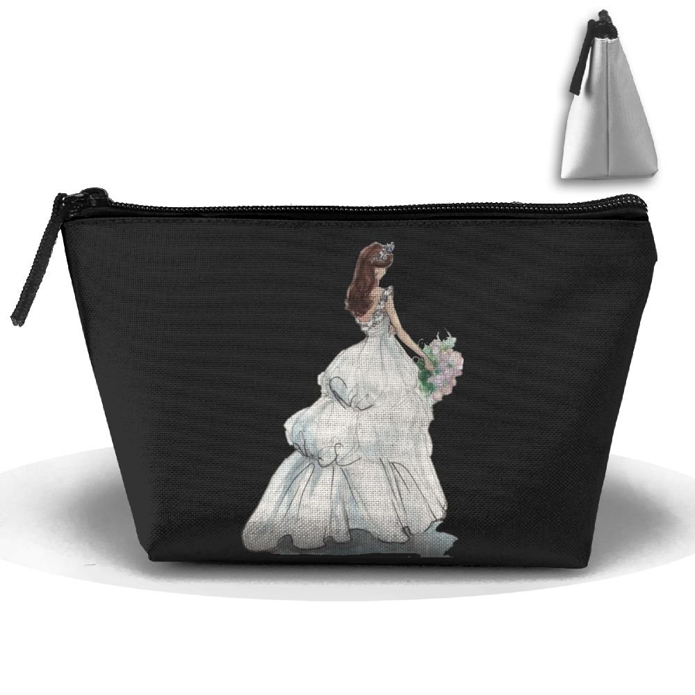 Bride In Wedding Dress Women Fashion Cosmetic Bags Portable Pouch Trapezoidal Storage Bag With Zipper