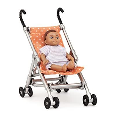 Melody Jane Dollhouse Lundby Modern Baby and Pushchair Stroller Buggy: Toys & Games