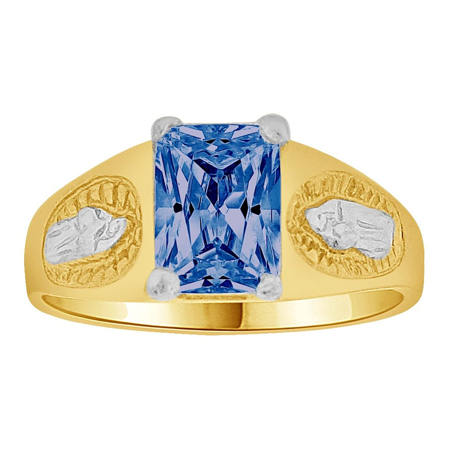 14k Gold White Rhodium, Small Child or Pinky Adult Ring Created Blue CZ Virgin Mary