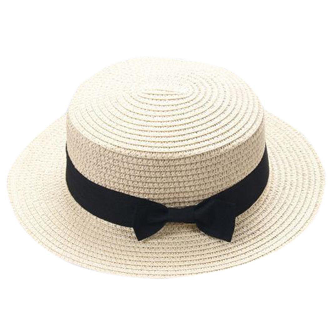 ZARLLE Sombrero De Paja ala Ancha Paja Bowknot Transpirable Sombrero  Sombreros para El Sol del Verano Retro Viajes Sombrero Gorra Visera De Sol  Playa De ... baf44024e16