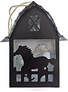 Galvanized Metal Horse Barn Christmas Ornament, Rustic Ranch Holiday Decor