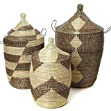 Set of Three Mixed Pattern Black & Beige African Woven Hampers
