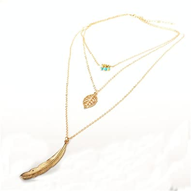 Amazon better annie fashion simple necklaces leaf long pendant amazon better annie fashion simple necklaces leaf long pendant necklaces 3 layer chain necklace multilayer necklaces antique gold plated jewelry aloadofball Images