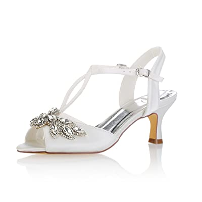 Emily Bridal 1031-9 Women's Wedding Shoes Open Toe 1.57 Inches Spool Heel Satin Sandals with Rhinestone Sequin Buckle Bridal Shoes | Shoes