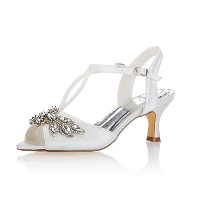 c6b14481235e2 Amazon.com | Emily Bridal Ivory Wedding Shoes Peep Toe Rhinestones Kitten  Heel Bridal Shoes Women Shoes | Shoes