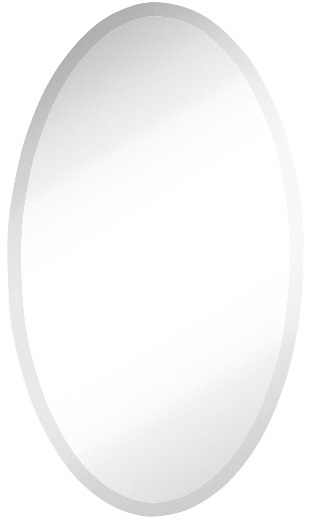 Large Simple Round Streamlined 1 Inch Beveled Oval Wall Mirror   Premium Silver Backed Rounded Mirrored Glass Panel   Vanity, Bedroom, or Bathroom   Frameless HangsHorizontal or Vertical (24'' x 36'')