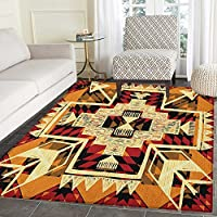 Arrow Area Rug Carpet Native American Inspired Retro Aztec Pattern Mod Graphic Design Boho Artwork Customize door mats for home Mat 3x5 Red Orange Yellow