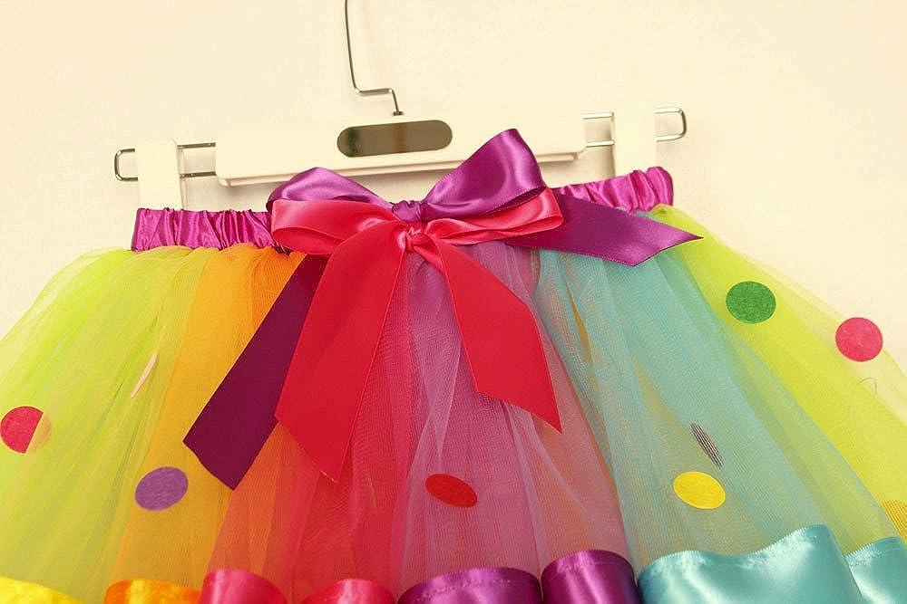 Kehen Kids Little Girl Colorful Layered Tutu Skirt Rainbow Gauze Petticoat Pettiskirt Dancewear Outdoor Dresses