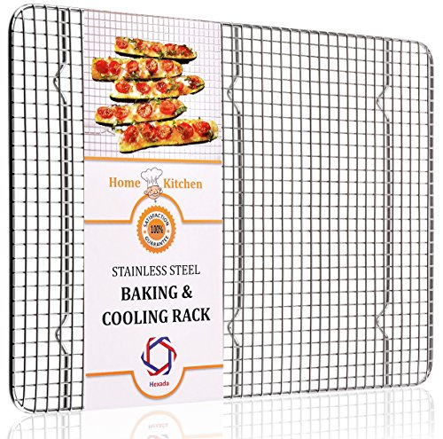 """Stainless Steel Non-Stick Cooling & Baking Rack for Easy Cooking by Hexada – Dishwasher & Oven Safe, 16.5X11.5"""", Great for Grill , Stove and Barbeque Use ; Durable , Heavy Duty and Sturdy"""