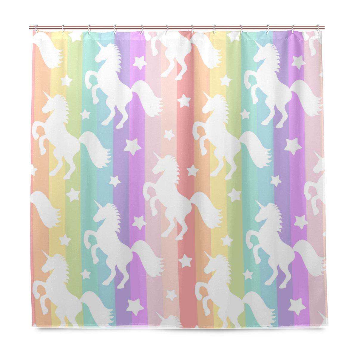 Amazon Com U Life Cute Colorful Rainbow Unicorns Decorative Bath