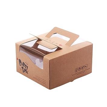 Zhi Jin 2pcs de Grosor asa Kraft Cajas de cartón cuadradas para Tartas Cupcake Bakery fiambreras con Ventana Caja Set 6 Inch: Amazon.es: Hogar