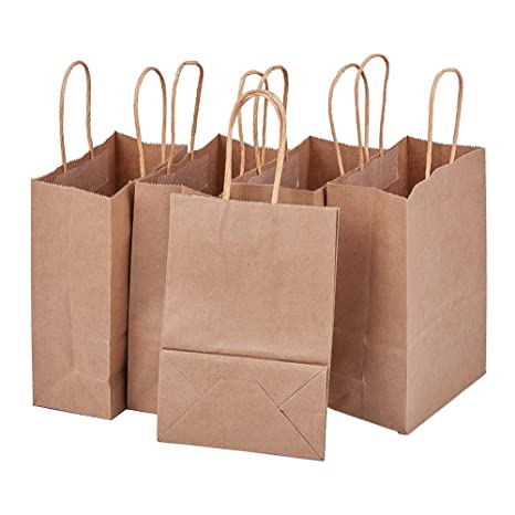 BENECREAT 30 Pack Bolsas de Regalo de Papel Kraft con Asas Compras, Mercancía, Venta al por Menor, Fiesta, Boda, Papel 100% Reciclado Marrón Natural