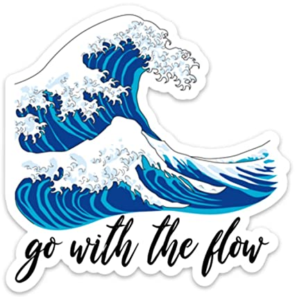 Go With The Flow Ocean Wave Sticker Decal Medium 4 X 4 Positivity For Laptop Phone Waterbottle