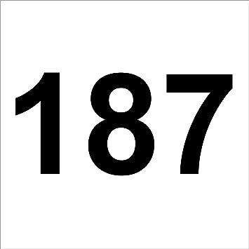 3 Mal Nummer 187 Hochwertige Zahlenaufkleber Schwarz
