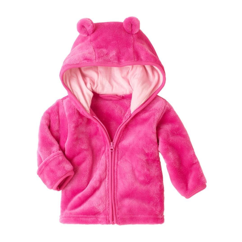 Newborn Baby Boys Girls Long Sleeves Zipper Bear Ears Hooded Jacket Coat Outwear