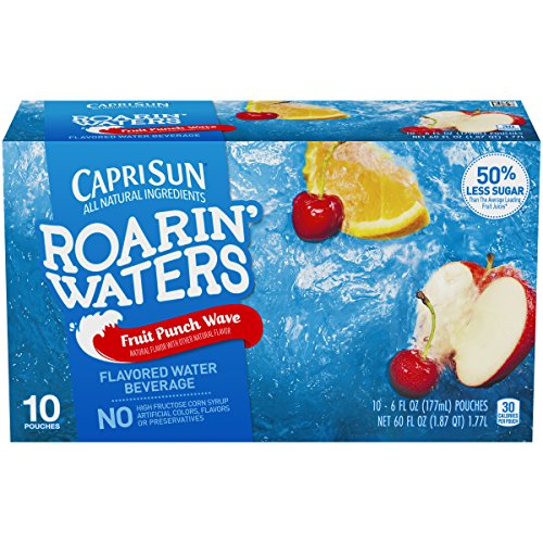 Capri Sun Roarin' Waters Fruit Punch Juice Drink (6 oz Pouches, 4 Boxes of 10)