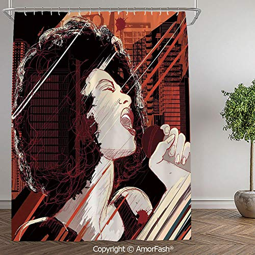 SCOCICI Afro Decor,Shower Curtain Fabric with Hooks Bath Curtain Waterproof Gifts for Men and Women,60 x 72 Inch,Jazz Singer Woman Performing on Grunge Background Musical Sound Illustration,Black Red (Best Performing Washer And Dryer 2019)