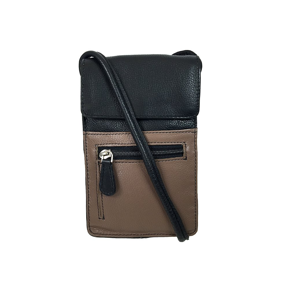 Pielino Women's Genuine Leather Small Crossbody Bag Cell Phone Purse (Taupe/Black)