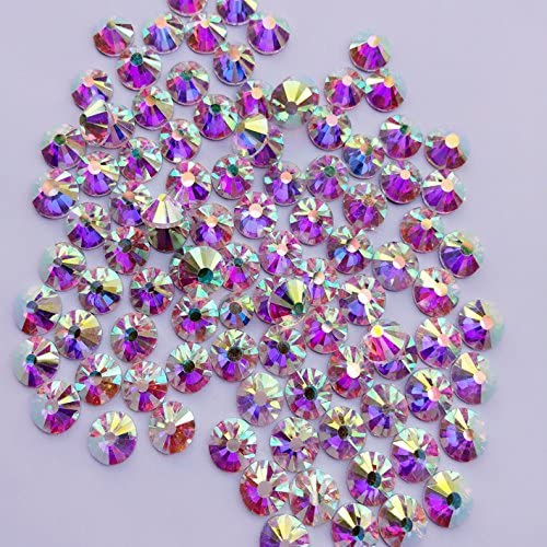 1440 pcs, Crystal AB By Zealer ss6 2mm Crystal AB // Crystal FlatBack Glass Rhinestones Glue Fix Come with NO CASE