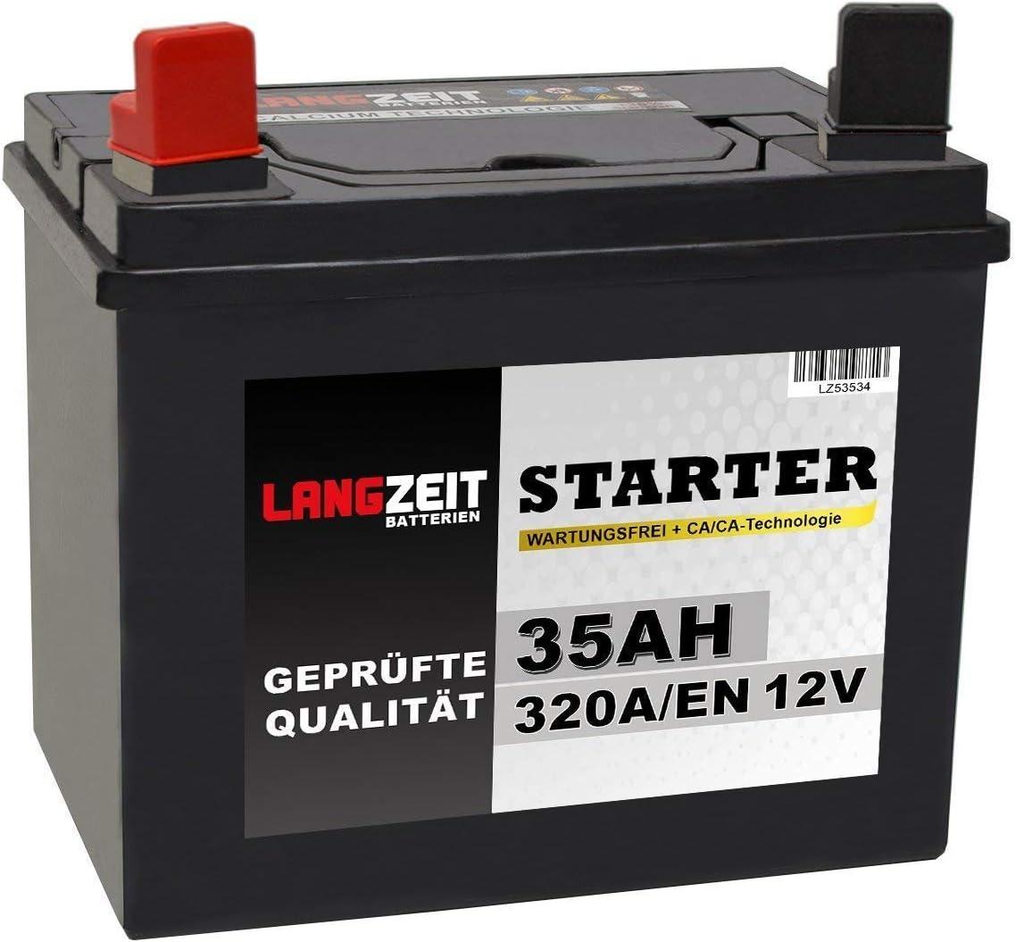Langzeit Batterien 35ah 12v Rasentraktor Starterbatterie Aufsitzmäher Rasenmäher Plus Pol Links Ersetzt 26ah 30ah 32ah Auto