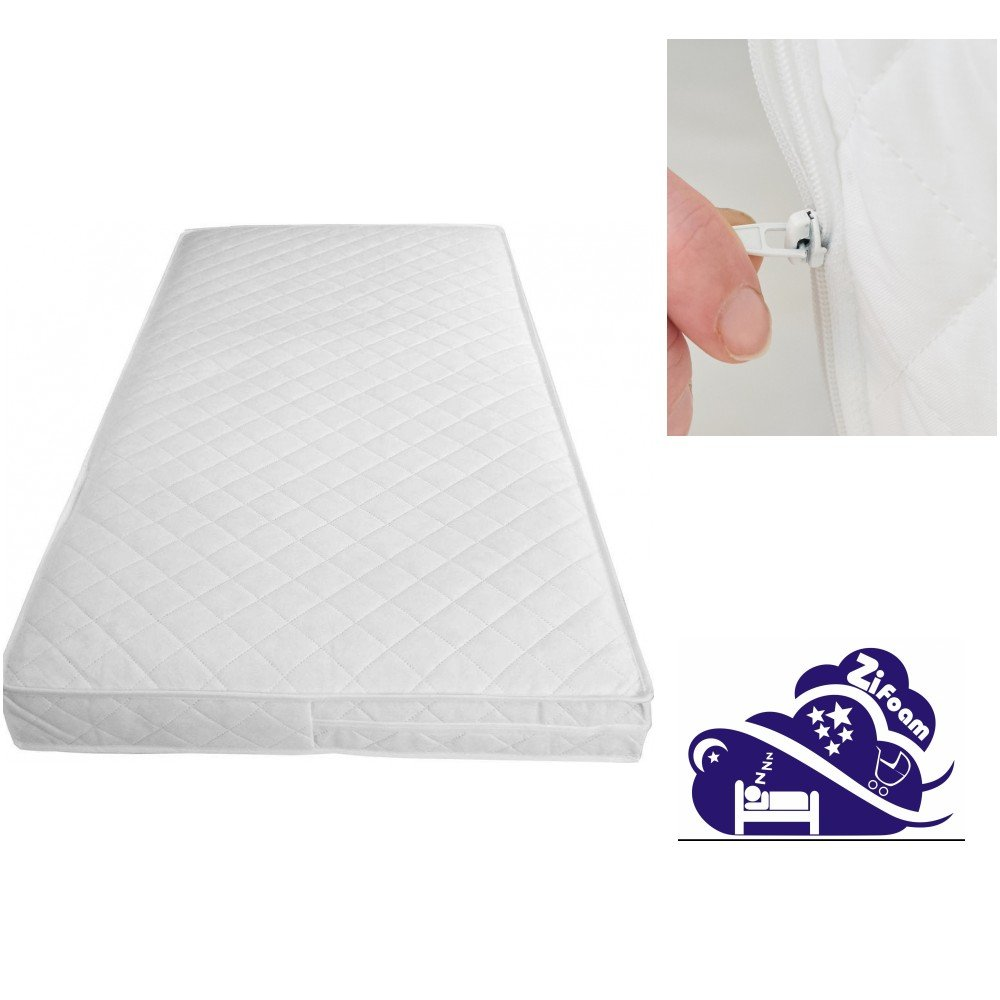 Luxury Cot Bed Mattress with Tape Edges 160x80x10cm Thick (Fits Mamas & Papas Sizes)160x70x10 (160 X 80 X 10cm, White Cover) Zi Foam Ltd Z180cm