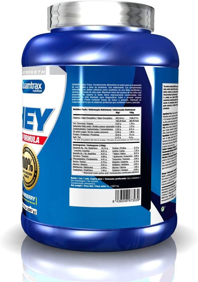 Quamtrax Proteina Iso whey sabor fresa -2270 gr 75 servicios ...