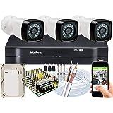 Kit 3 cameras seguranca 2 mega Full HD IR DVR Intelbras 1104