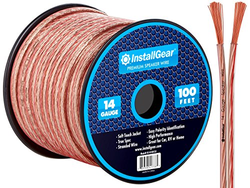 Clear Speaker Wire - InstallGear 14 Gauge AWG 100ft Speaker Wire Cable - Clear