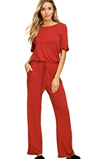 7bd5c87a08ba Annabelle Women s Casual Short Sleeve Jumpsuit Elastic Waist Wide Leg Romper  Pants with Pockets