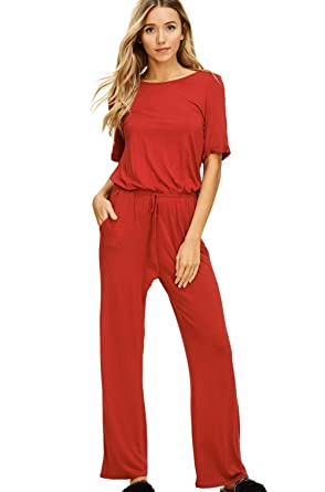 a0537d53e3d Annabelle Women s Short Sleeve Back Keyhole Elastic Waist Tie Full Length  Solid Jumpsuit Red Small J8069