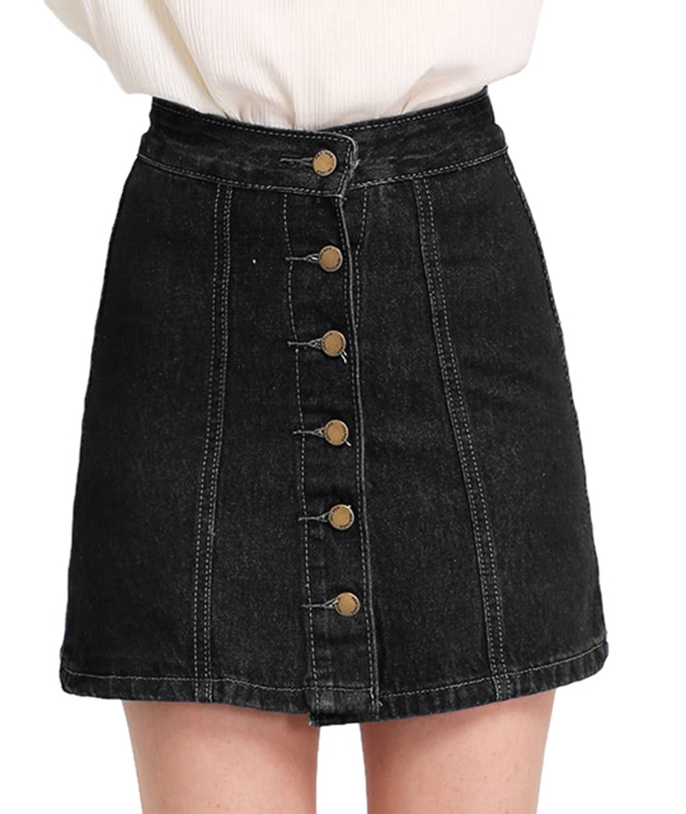 SheIn Women's Button Front Denim A-Line Short Skirt Black X-Large