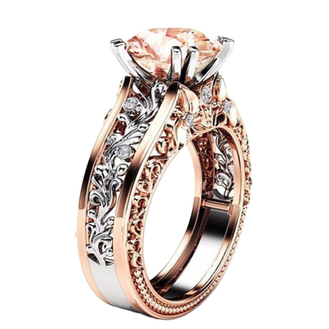 Alonea Floral Ring, Women Diamonds Ring Rose Gold Wedding Engagement Exquisite Princess Promise Rings For Her Size 5-11 (Coffee 7)