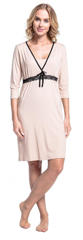 Stillshirt 3//4-Arm Happy Mama Damen Umstands-Nachthemd mit Stillfunktion 255p