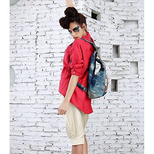 Dopobo Deporte Mujer Retro Bolsas Lienzo Jeans Mochila Vintage Impreso Senderismo De Flor Lady Bolsa Viaje twwdqxr7
