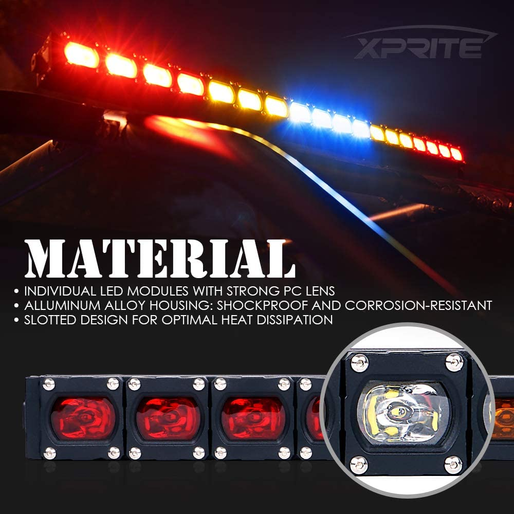 Turn Signal RX Series RYBYR Reverse Light for UTV ATV CAM AM Maverick X3 Polaris RZR XP 1000 Xprite 30 Offroad Rear Chase LED Strobe Light bar with Brake