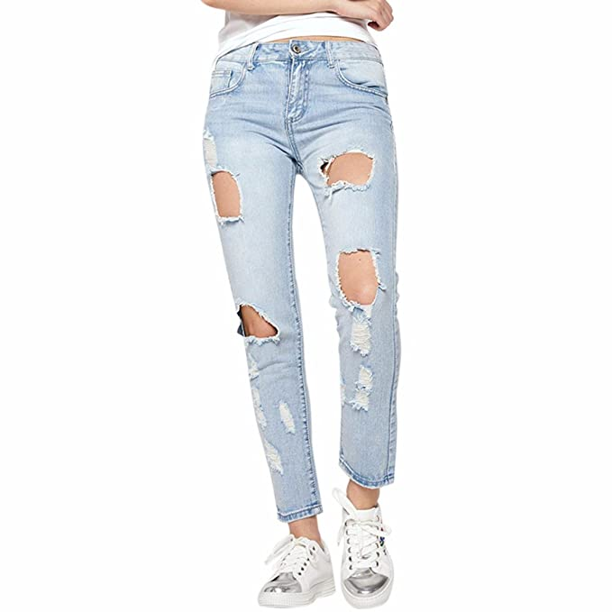 Moda mujer pantalones vaqueros flaco azul claro Irregular ...